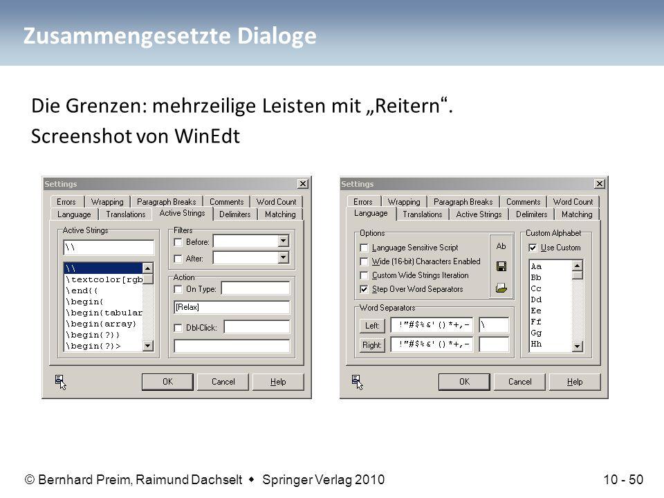 """© Bernhard Preim, Raimund Dachselt  Springer Verlag 2010 Zusammengesetzte Dialoge Die Grenzen: mehrzeilige Leisten mit """"Reitern"""". Screenshot von WinE"""