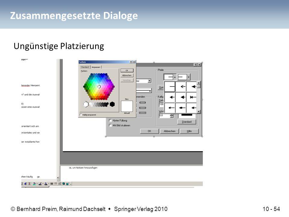 © Bernhard Preim, Raimund Dachselt  Springer Verlag 2010 Zusammengesetzte Dialoge Ungünstige Platzierung 10 - 54
