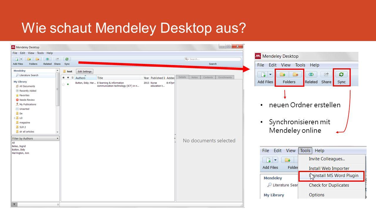 Wie schaut Mendeley Desktop aus neuen Ordner erstellen Synchronisieren mit Mendeley online