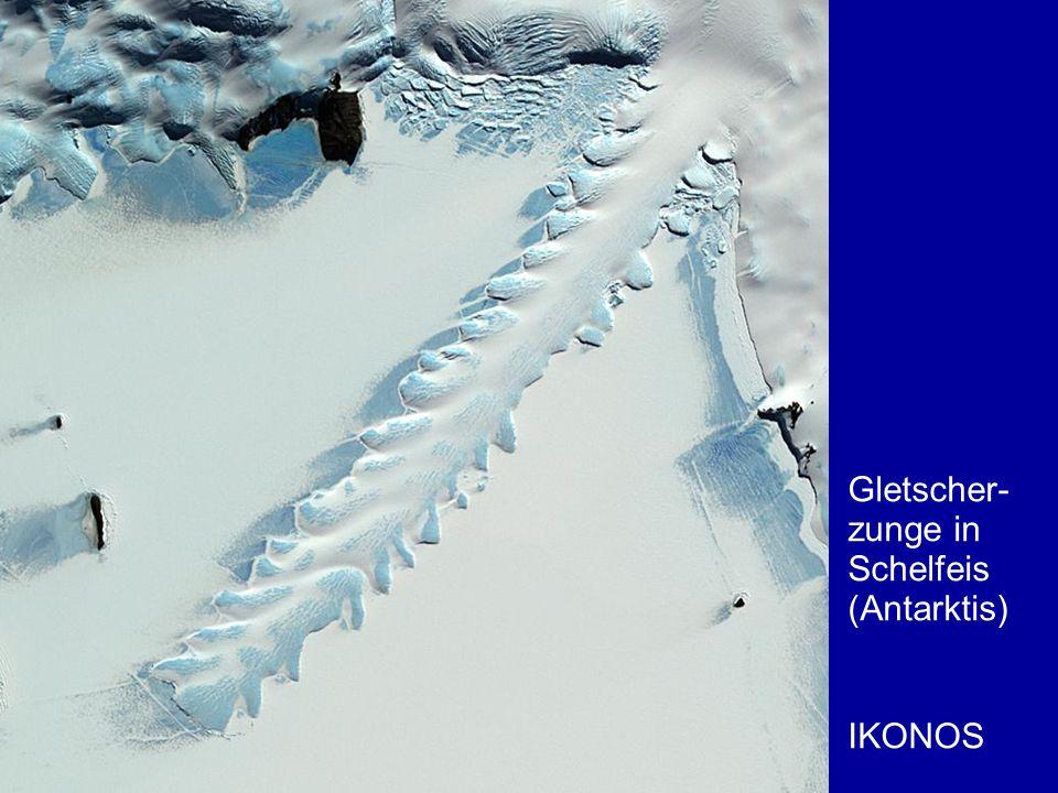 Gletscher- zunge in Schelfeis (Antarktis) IKONOS