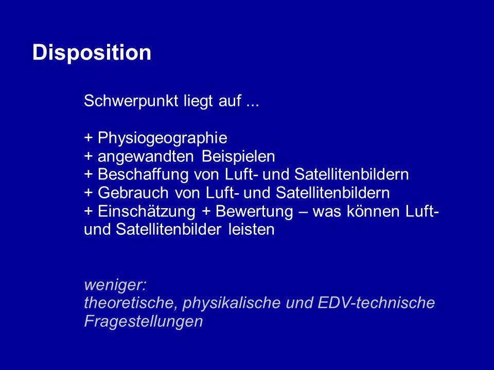 Disposition Schwerpunkt liegt auf... + Physiogeographie + angewandten Beispielen + Beschaffung von Luft- und Satellitenbildern + Gebrauch von Luft- un
