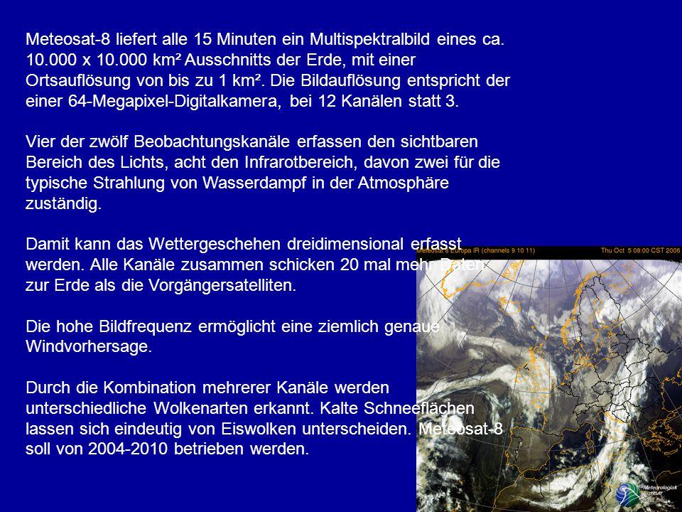 Meteosat-8 liefert alle 15 Minuten ein Multispektralbild eines ca.