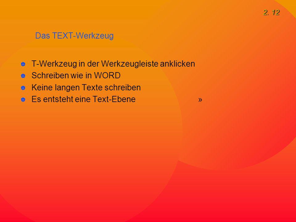 2. 12 Das TEXT-Werkzeug  T-Werkzeug in der Werkzeugleiste anklicken  Schreiben wie in WORD  Keine langen Texte schreiben  Es entsteht eine Text-Eb
