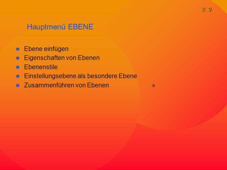 2. 9 Hauptmenü EBENE  Ebene einfügen  Eigenschaften von Ebenen  Ebenenstile  Einstellungsebene als besondere Ebene  Zusammenführen von Ebenen »