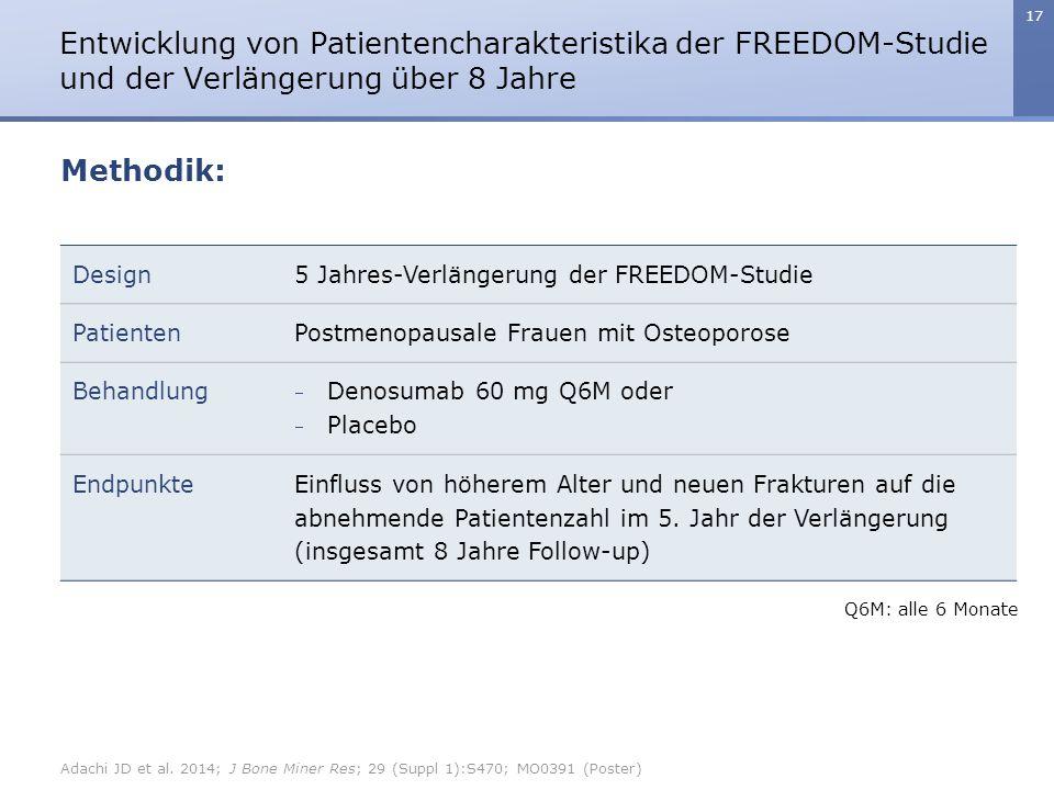 17 Entwicklung von Patientencharakteristika der FREEDOM-Studie und der Verlängerung über 8 Jahre Design5 Jahres-Verlängerung der FREEDOM-Studie Patien