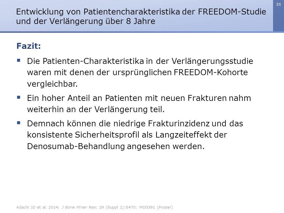 21  Die Patienten-Charakteristika in der Verlängerungsstudie waren mit denen der ursprünglichen FREEDOM-Kohorte vergleichbar.