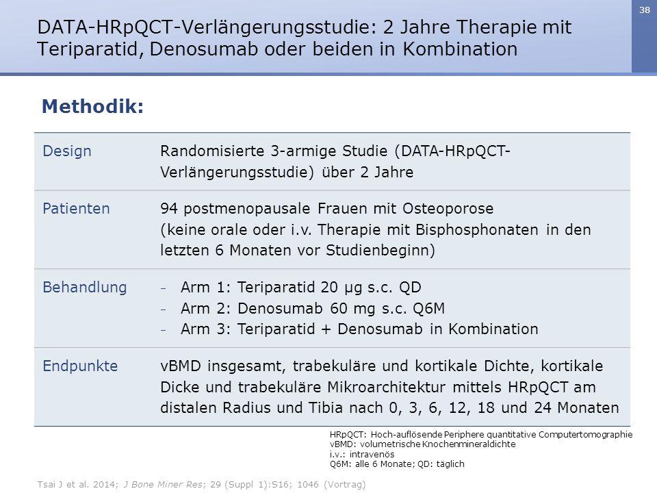 38 DATA-HRpQCT-Verlängerungsstudie: 2 Jahre Therapie mit Teriparatid, Denosumab oder beiden in Kombination Design Randomisierte 3-armige Studie (DATA-HRpQCT- Verlängerungsstudie) über 2 Jahre Patienten 94 postmenopausale Frauen mit Osteoporose (keine orale oder i.v.