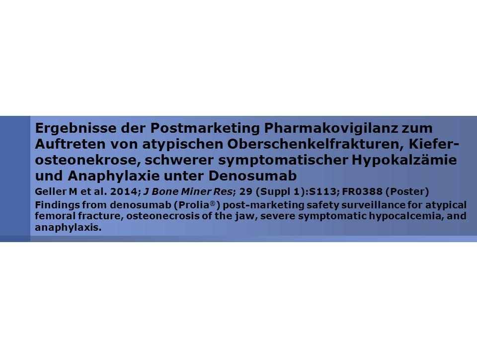 Ergebnisse der Postmarketing Pharmakovigilanz zum Auftreten von atypischen Oberschenkelfrakturen, Kiefer- osteonekrose, schwerer symptomatischer Hypokalzämie und Anaphylaxie unter Denosumab Geller M et al.