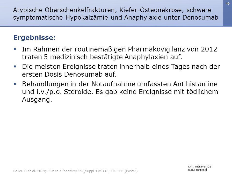 49  Im Rahmen der routinemäßigen Pharmakovigilanz von 2012 traten 5 medizinisch bestätigte Anaphylaxien auf.  Die meisten Ereignisse traten innerhal