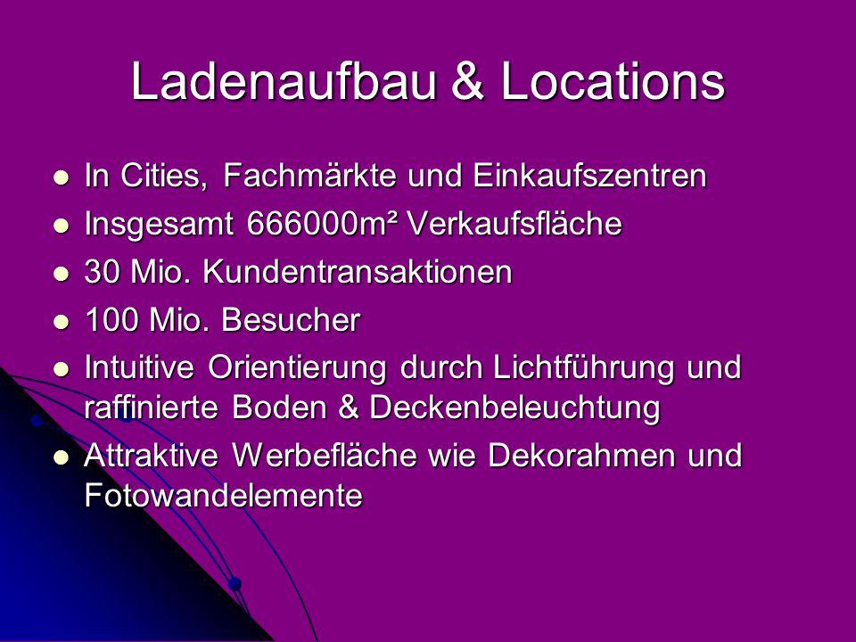 Ladenaufbau & Locations In Cities, Fachmärkte und Einkaufszentren In Cities, Fachmärkte und Einkaufszentren Insgesamt 666000m² Verkaufsfläche Insgesamt 666000m² Verkaufsfläche 30 Mio.