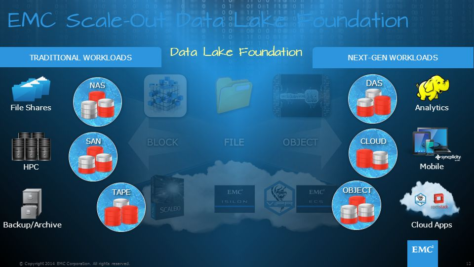 EMC Scale-Out Data Lake Foundation Data Lake Foundation 12© Copyright 2014 EMC Corporation. All rights reserved. NEXT-GEN WORKLOADSTRADITIONAL WORKLOA