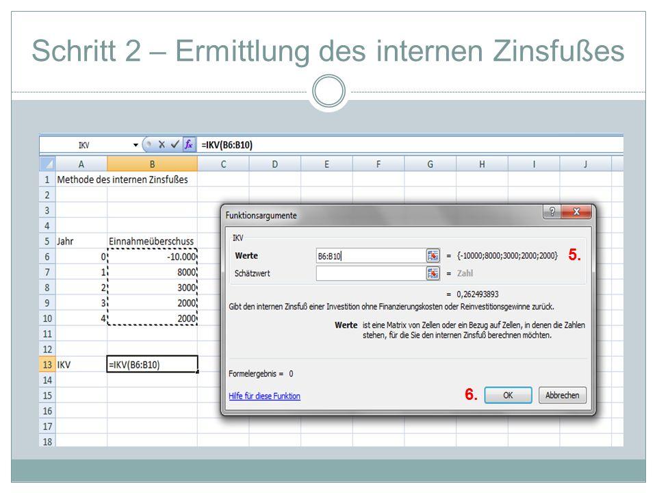 Schritt 2 – Ermittlung des internen Zinsfußes 5. 6.