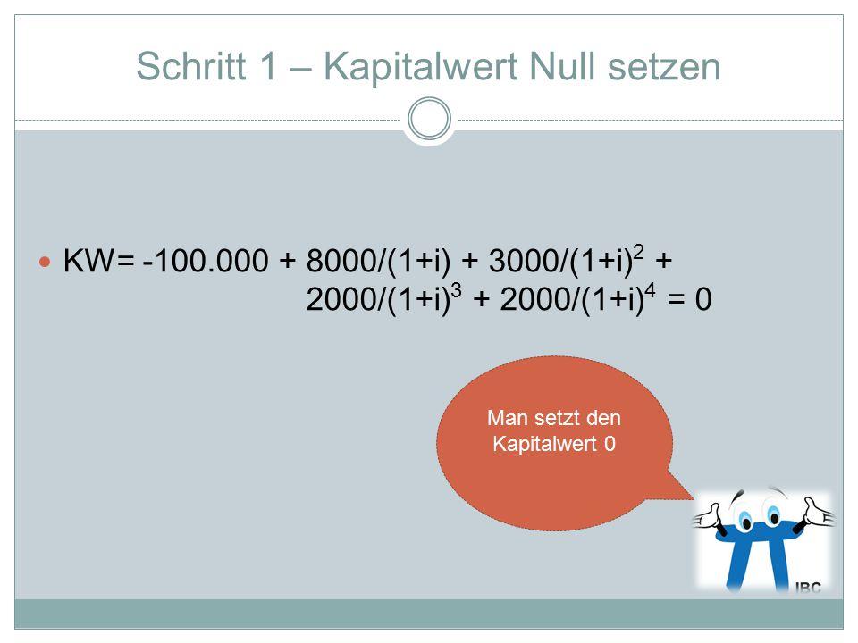 Schritt 1 – Kapitalwert Null setzen KW= -100.000 + 8000/(1+i) + 3000/(1+i) 2 + 2000/(1+i) 3 + 2000/(1+i) 4 = 0 Man setzt den Kapitalwert 0