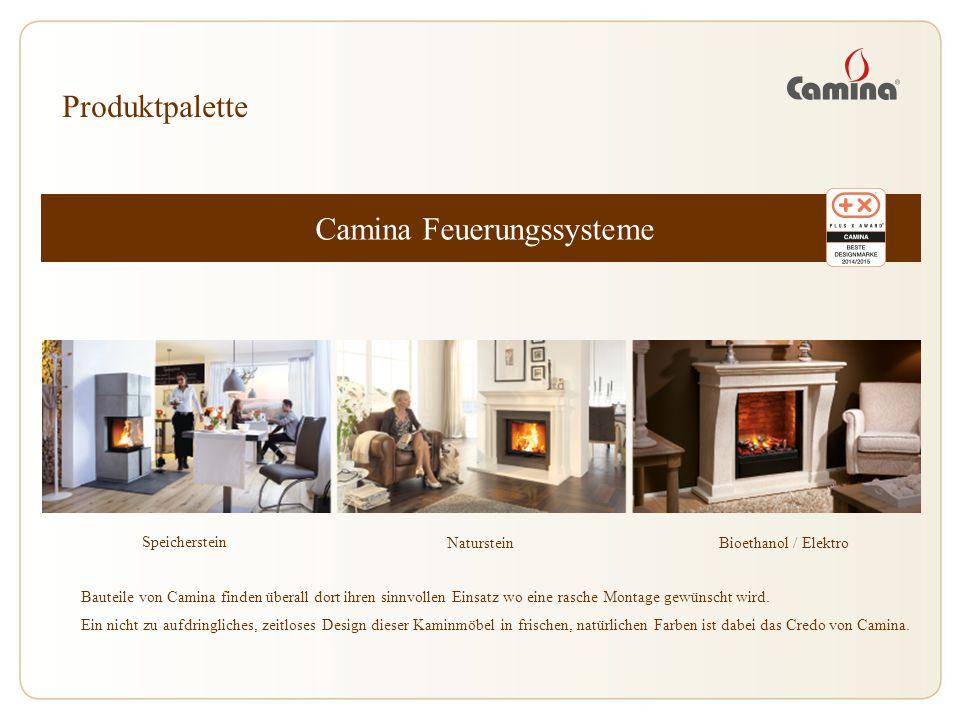 Camina Feuerungssysteme Speicherstein Produktpalette NatursteinBioethanol / Elektro Bauteile von Camina finden überall dort ihren sinnvollen Einsatz w