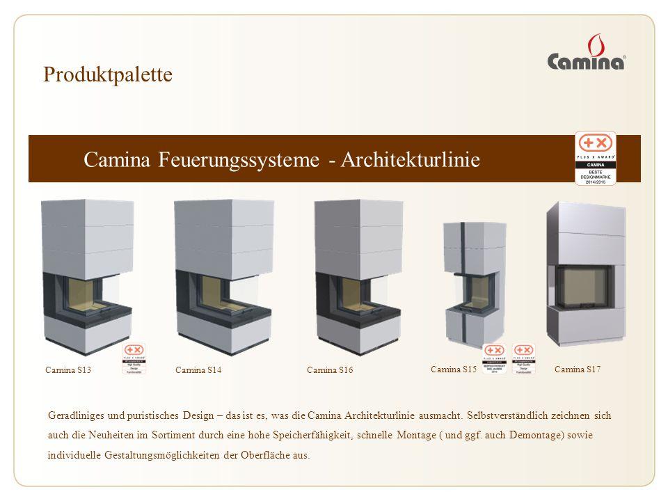 Camina Feuerungssysteme - Architekturlinie Camina S13 Produktpalette Geradliniges und puristisches Design – das ist es, was die Camina Architekturlini