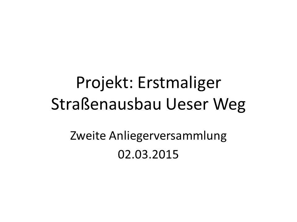 Projekt: Erstmaliger Straßenausbau Ueser Weg Zweite Anliegerversammlung 02.03.2015