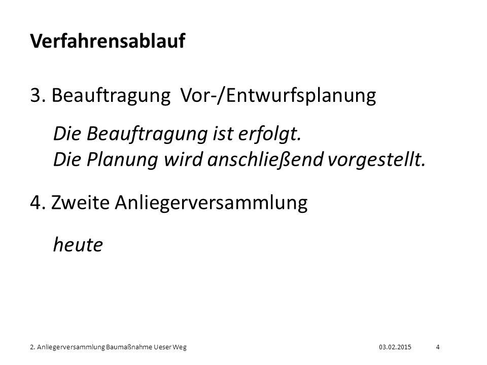 03.02.20152. Anliegerversammlung Baumaßnahme Ueser Weg4 Verfahrensablauf 3. Beauftragung Vor-/Entwurfsplanung Die Beauftragung ist erfolgt. Die Planun