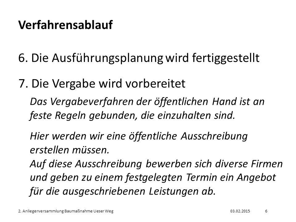 03.02.20152.Anliegerversammlung Baumaßnahme Ueser Weg7 Verfahrensablauf 8.