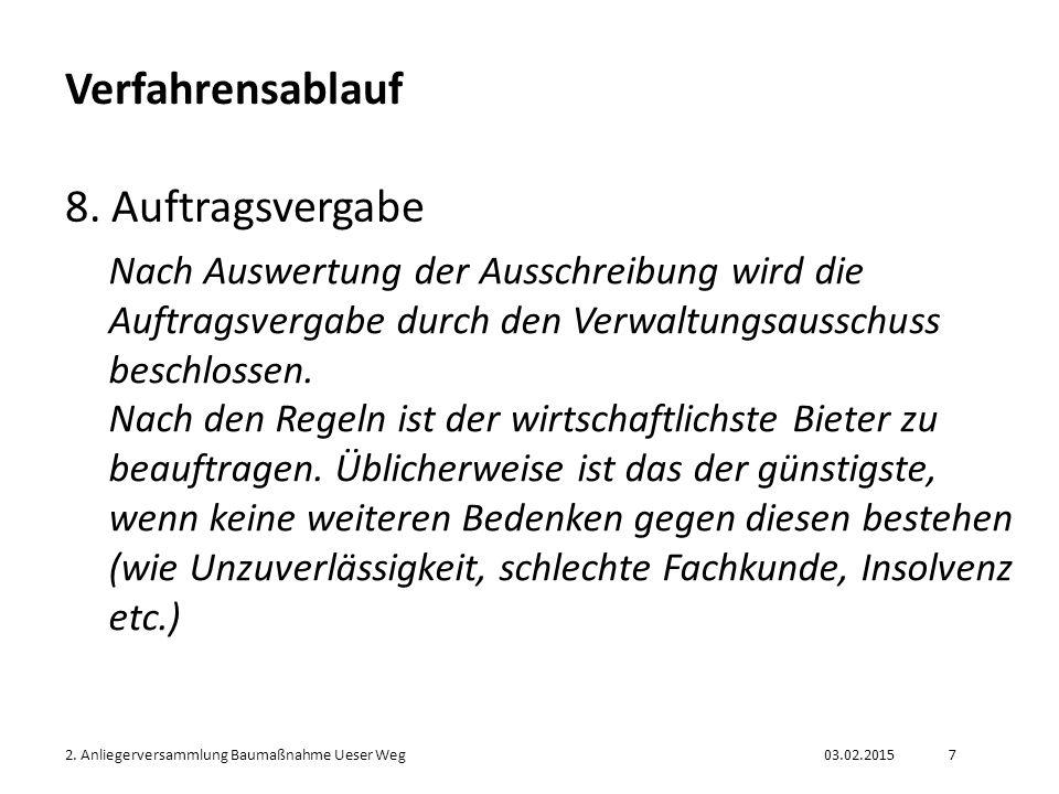 03.02.20152.Anliegerversammlung Baumaßnahme Ueser Weg8 Verfahrensablauf 9.