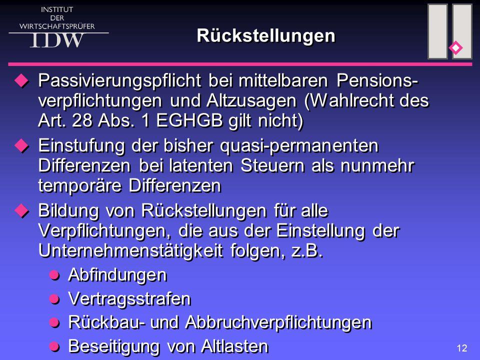12 Rückstellungen  Passivierungspflicht bei mittelbaren Pensions- verpflichtungen und Altzusagen (Wahlrecht des Art. 28 Abs. 1 EGHGB gilt nicht)  Ei