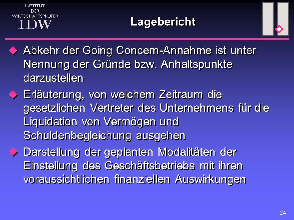 24 Lagebericht  Abkehr der Going Concern-Annahme ist unter Nennung der Gründe bzw. Anhaltspunkte darzustellen  Erläuterung, von welchem Zeitraum die