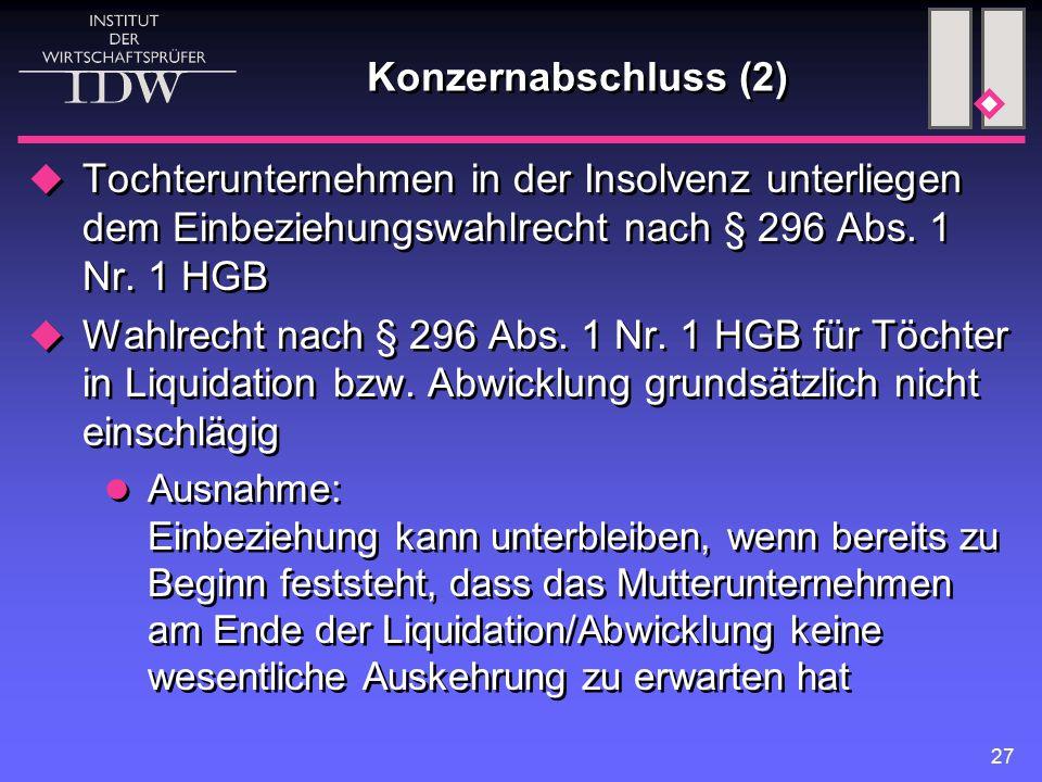27 Konzernabschluss (2)  Tochterunternehmen in der Insolvenz unterliegen dem Einbeziehungswahlrecht nach § 296 Abs. 1 Nr. 1 HGB  Wahlrecht nach § 29