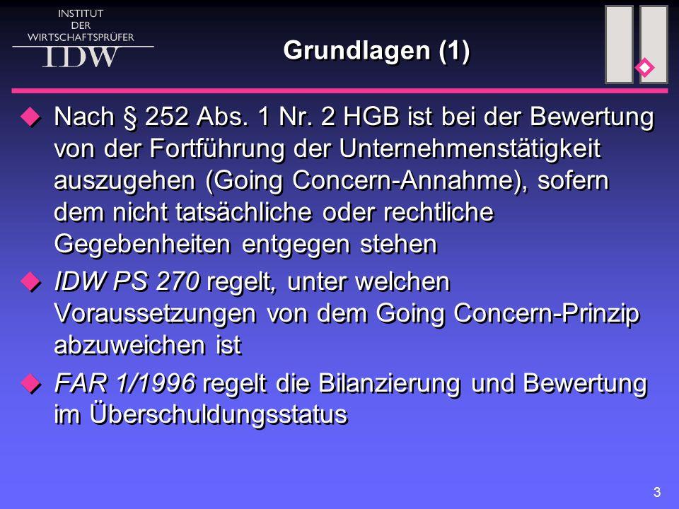 3 Grundlagen (1)  Nach § 252 Abs. 1 Nr. 2 HGB ist bei der Bewertung von der Fortführung der Unternehmenstätigkeit auszugehen (Going Concern-Annahme),