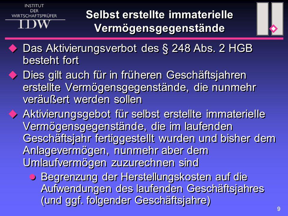 9 Selbst erstellte immaterielle Vermögensgegenstände  Das Aktivierungsverbot des § 248 Abs. 2 HGB besteht fort  Dies gilt auch für in früheren Gesch