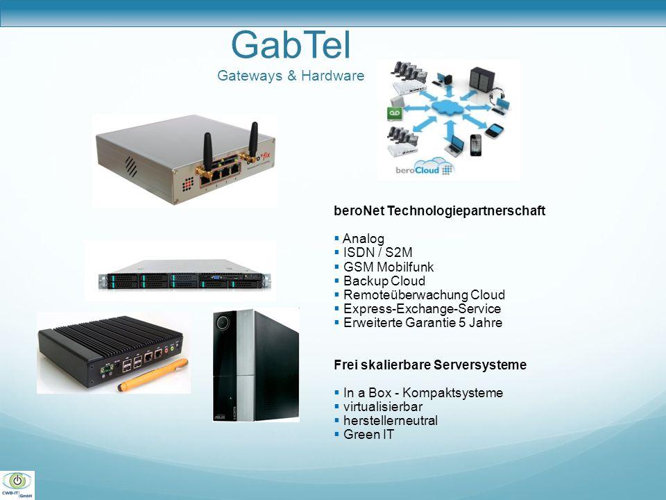 GabTel Gateways & Hardware beroNet Technologiepartnerschaft  Analog  ISDN / S2M  GSM Mobilfunk  Backup Cloud  Remoteüberwachung Cloud  Express-E