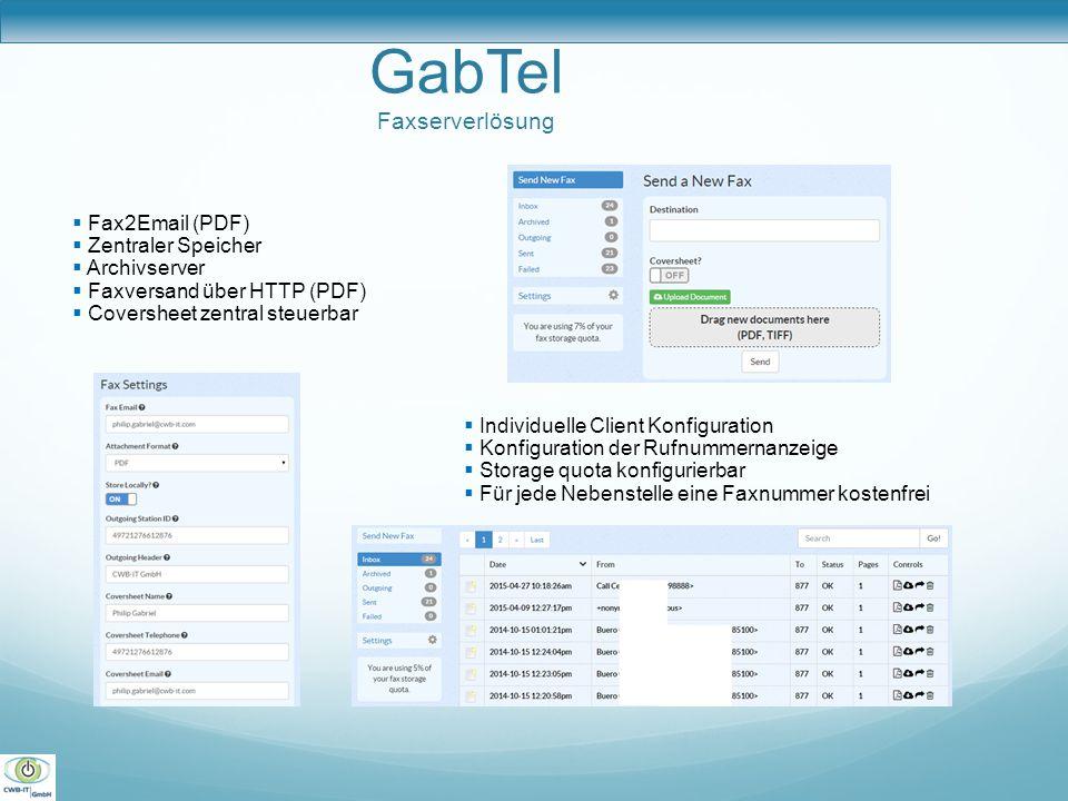 GabTel Faxserverlösung  Fax2Email (PDF)  Zentraler Speicher  Archivserver  Faxversand über HTTP (PDF)  Coversheet zentral steuerbar  Individuell