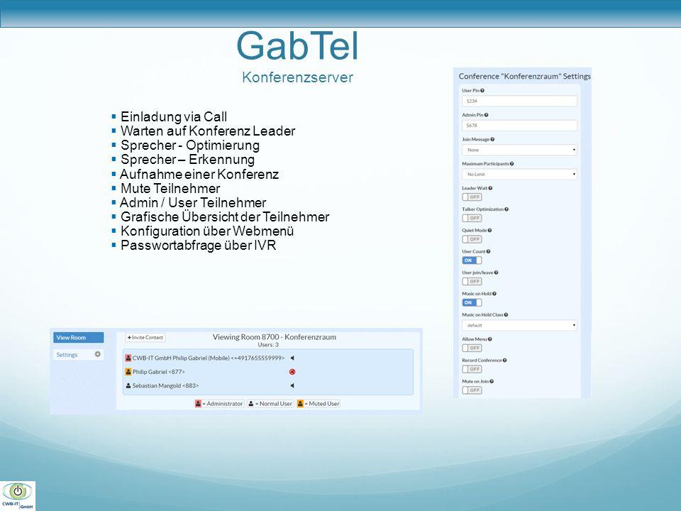 GabTel Konferenzserver  Einladung via Call  Warten auf Konferenz Leader  Sprecher - Optimierung  Sprecher – Erkennung  Aufnahme einer Konferenz 