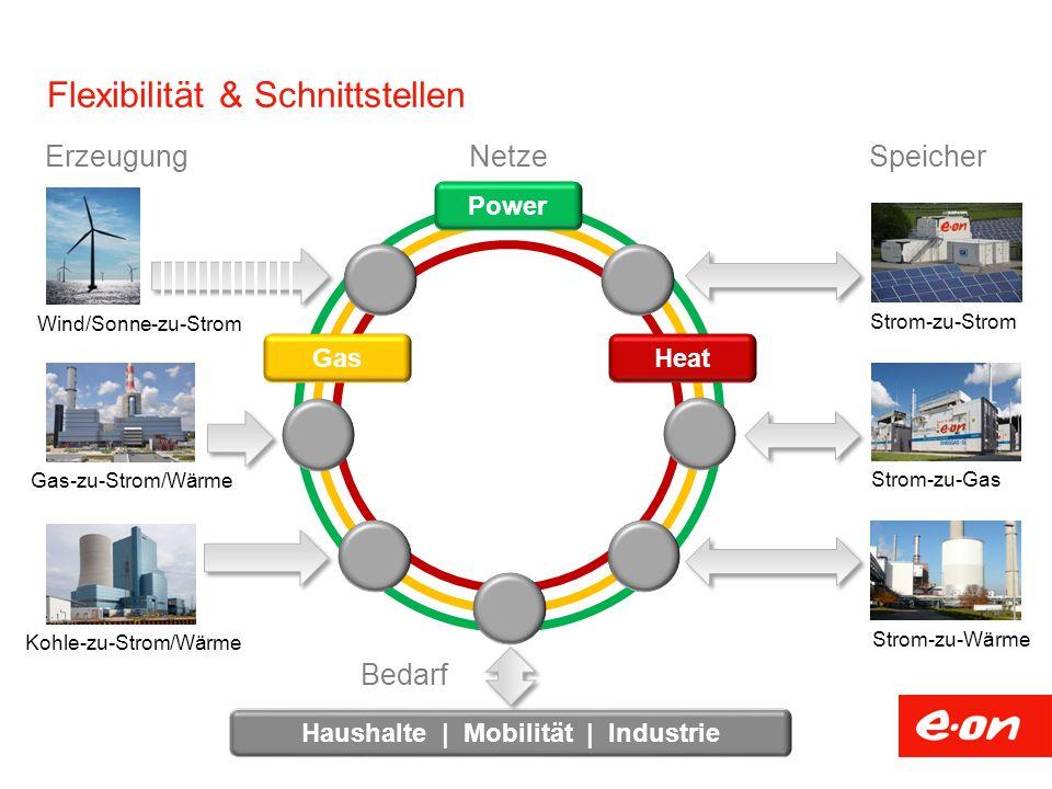 Flexibilität & Schnittstellen Gas-zu-Strom/Wärme Kohle-zu-Strom/Wärme ErzeugungNetze Power Heat Gas Wind/Sonne-zu-Strom Strom-zu-Gas Strom-zu-Wärme Strom-zu-Strom Speicher Haushalte | Mobilität | Industrie Bedarf
