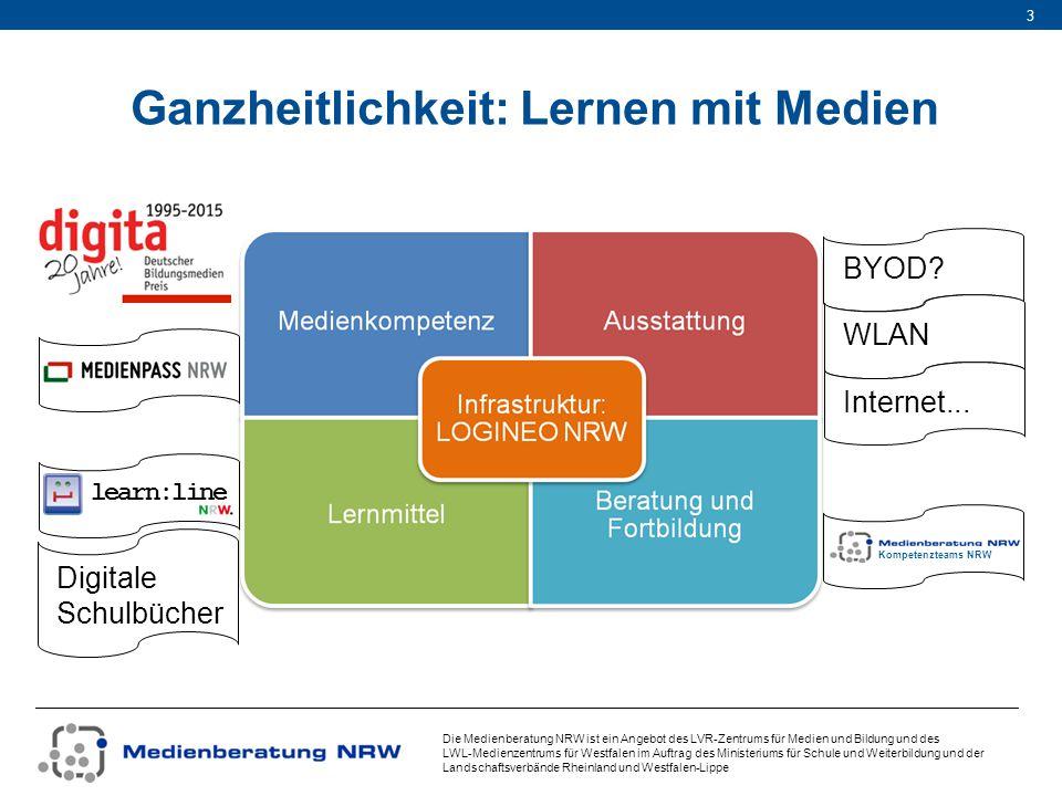 Die Medienberatung NRW ist ein Angebot des LVR-Zentrums für Medien und Bildung und des LWL-Medienzentrums für Westfalen im Auftrag des Ministeriums für Schule und Weiterbildung und der Landschaftsverbände Rheinland und Westfalen-Lippe 14 Verträge beide Landschaftsverbände haben mit dem Schulministerium einen bestehenden Vertrag über Aufgaben und Leistungen der gemeinsamen Medienberatung NRW das Schulministerium beauftragt – mit Zustimmung beider Landschaftsverbände – in einer Zusatzvereinbarung die Medienberatung NRW mit der Umsetzung von LOGINEO NRW der LVR beauftragt (als Zuständiger für die Geschäftsstelle der Medienberatung NRW) die kommunalen IT-Dienstleister