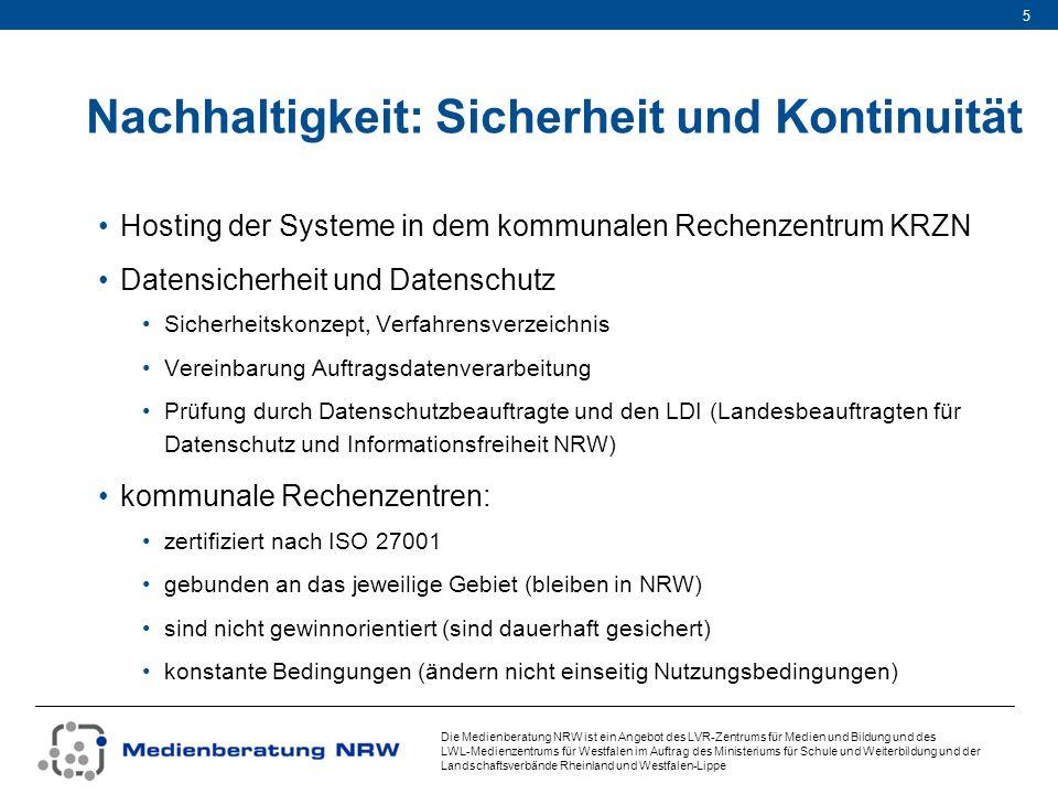 Die Medienberatung NRW ist ein Angebot des LVR-Zentrums für Medien und Bildung und des LWL-Medienzentrums für Westfalen im Auftrag des Ministeriums für Schule und Weiterbildung und der Landschaftsverbände Rheinland und Westfalen-Lippe 16 LOGINEO NRW: Datenverarbeitung im Auftrag