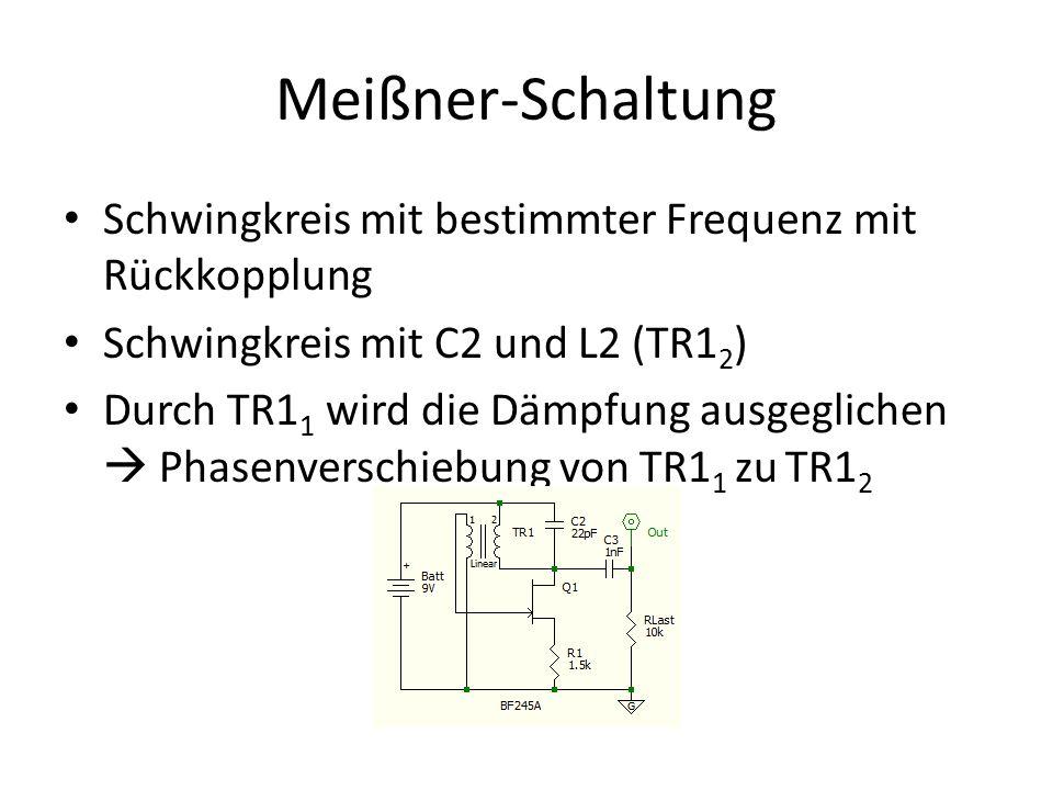 Meißner-Schaltung Schwingkreis mit bestimmter Frequenz mit Rückkopplung Schwingkreis mit C2 und L2 (TR1 2 ) Durch TR1 1 wird die Dämpfung ausgeglichen
