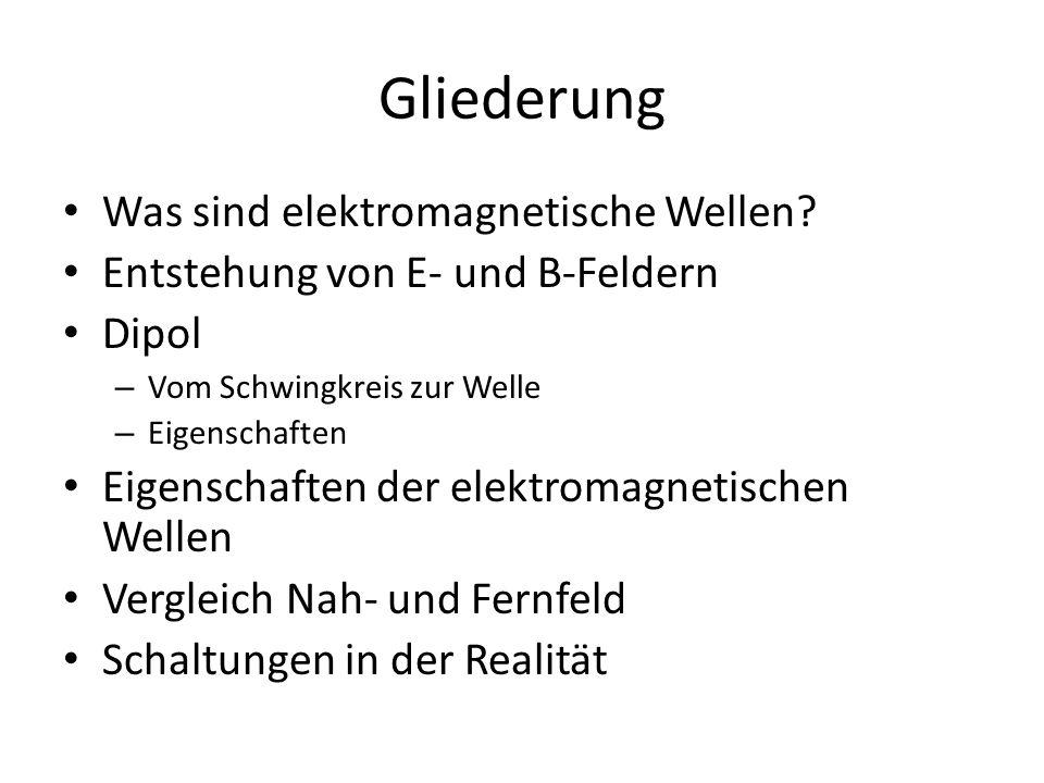 Gliederung Was sind elektromagnetische Wellen? Entstehung von E- und B-Feldern Dipol – Vom Schwingkreis zur Welle – Eigenschaften Eigenschaften der el