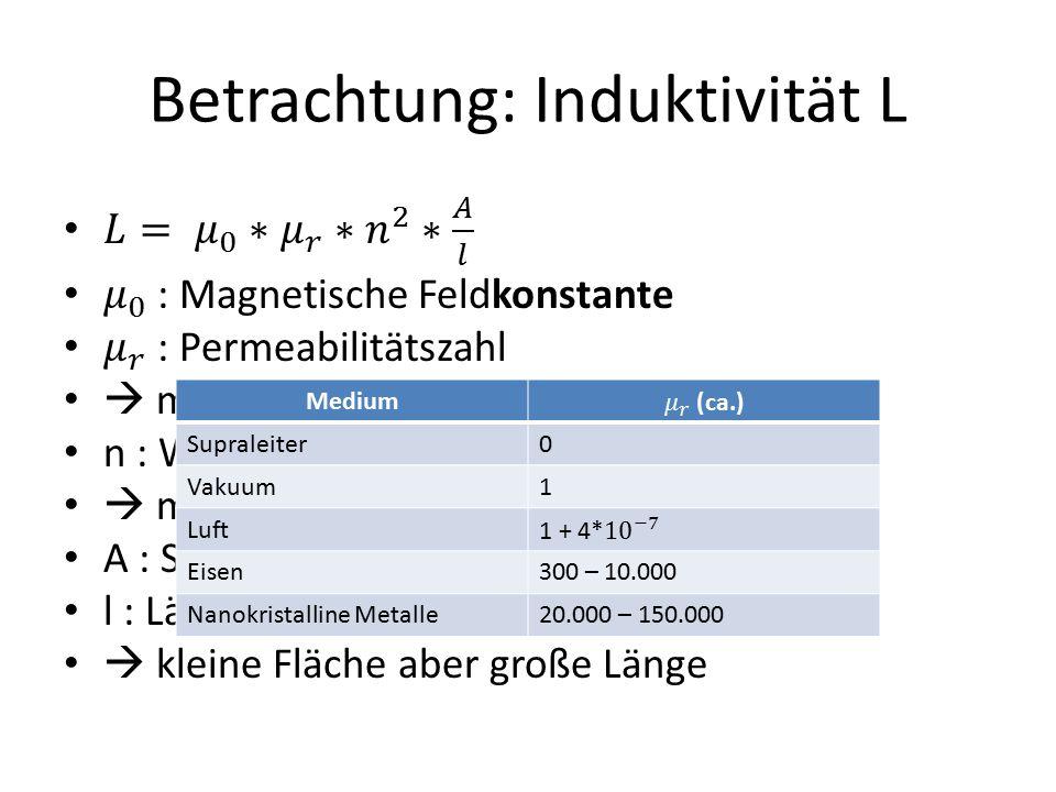 Betrachtung: Induktivität L Medium Supraleiter0 Vakuum1 Luft Eisen300 – 10.000 Nanokristalline Metalle20.000 – 150.000