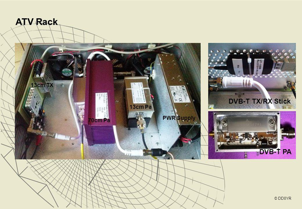ATV Rack DVB-T TX/RX Stick DVB-T PA 70cm Pa 13cm Pa 13cm TX PWR Supply © DD0YR