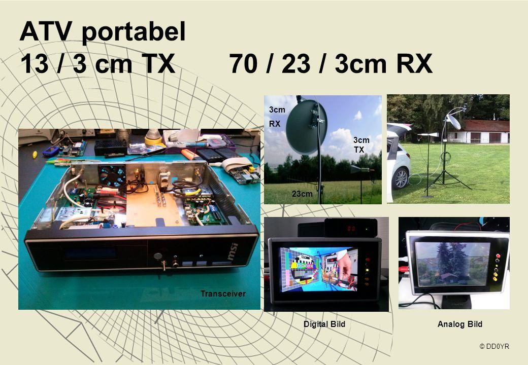 ATV portabel 13 / 3 cm TX 70 / 23 / 3cm RX © DD0YR Transceiver 3cm RX 3cm TX 23cm Digital BildAnalog Bild