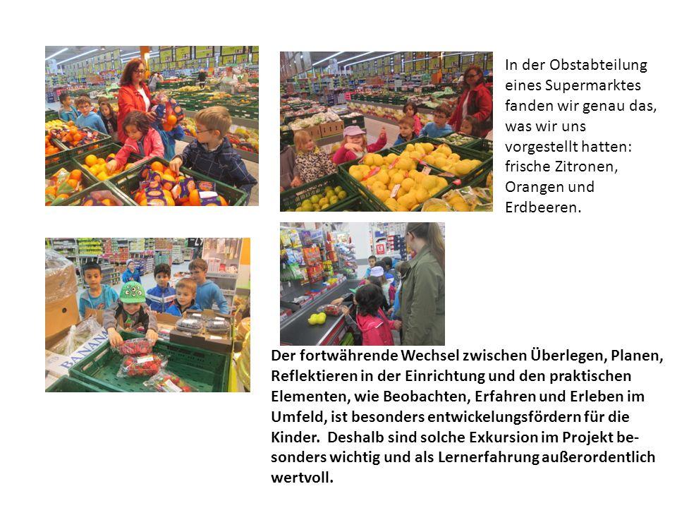 In der Obstabteilung eines Supermarktes fanden wir genau das, was wir uns vorgestellt hatten: frische Zitronen, Orangen und Erdbeeren.
