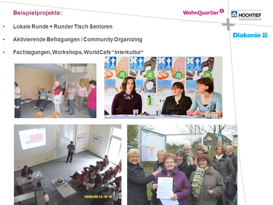 Beispielprojekte: Lokale Runde + Runder Tisch Senioren Aktivierende Befragungen / Community Organizing Fachtagungen, Workshops, WorldCafe Interkultur