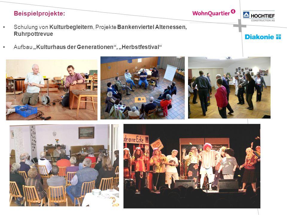 """Beispielprojekte: Schulung von Kulturbegleitern, Projekte Bankenviertel Altenessen, Ruhrpottrevue Aufbau """"Kulturhaus der Generationen , """"Herbstfestival"""