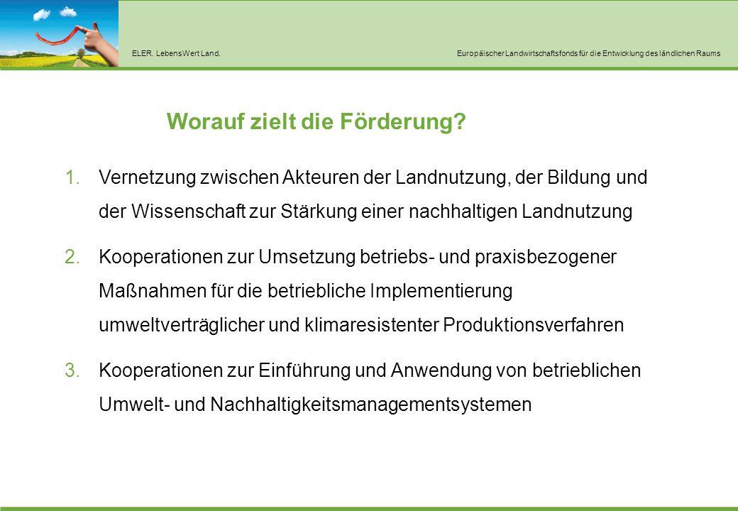 ELER. LebensWert Land.Europäischer Landwirtschaftsfonds für die Entwicklung des ländlichen Raums Worauf zielt die Förderung? 1.Vernetzung zwischen Akt