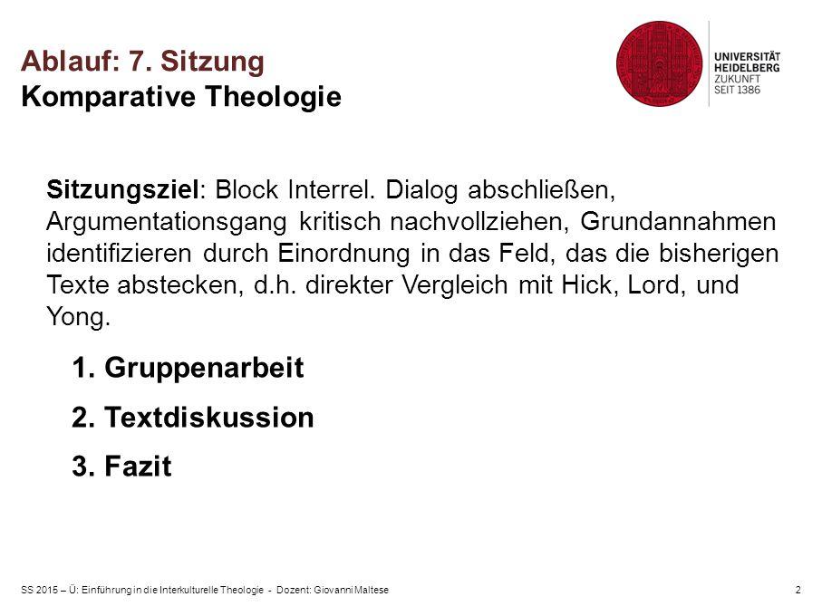 SS 2015 – Ü: Einführung in die Interkulturelle Theologie - Dozent: Giovanni Maltese2 Ablauf: 7.