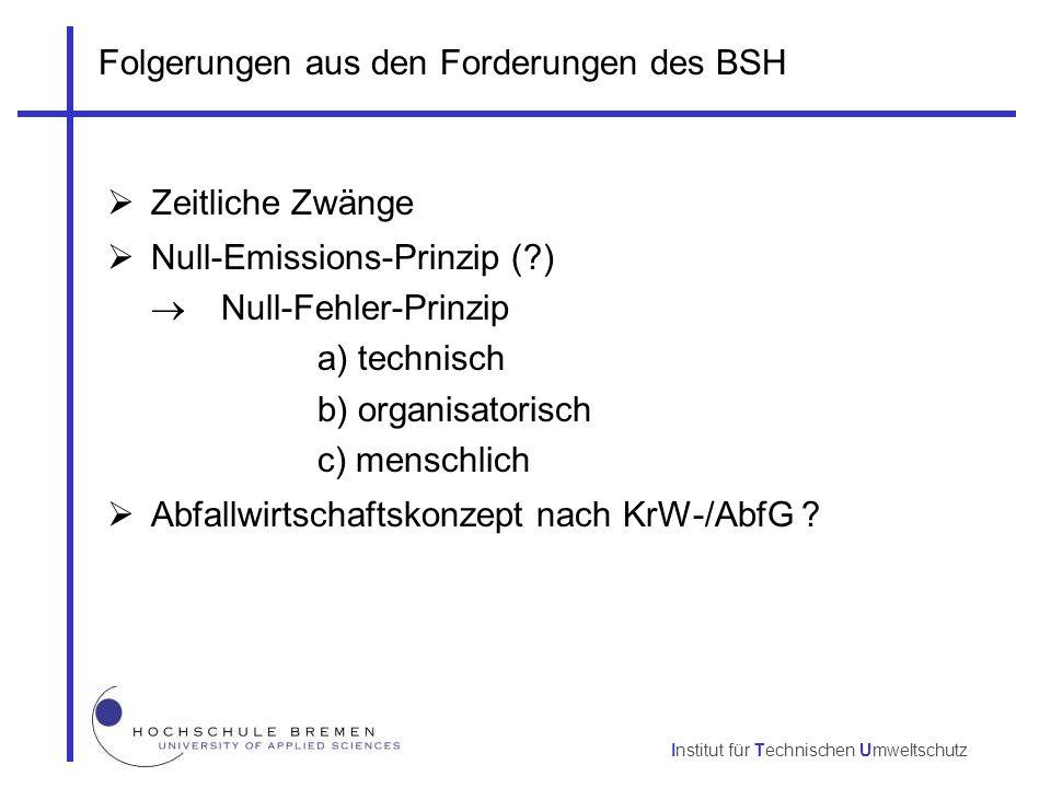 Institut für Technischen Umweltschutz Folgerungen aus den Forderungen des BSH  Zeitliche Zwänge  Null-Emissions-Prinzip (?)  Null-Fehler-Prinzip a