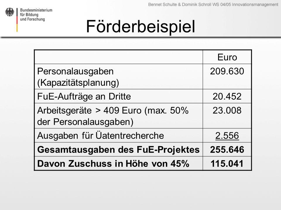 Förderbeispiel Euro Personalausgaben (Kapazitätsplanung) 209.630 FuE-Aufträge an Dritte20.452 Arbeitsgeräte > 409 Euro (max. 50% der Personalausgaben)