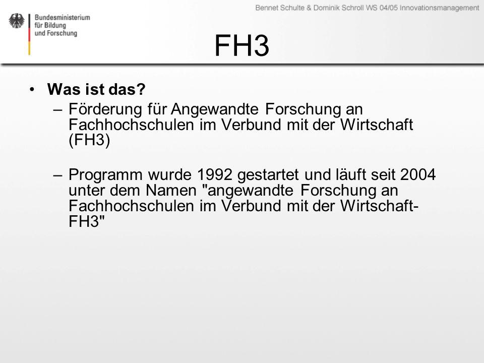 FH3 Was ist das? –Förderung für Angewandte Forschung an Fachhochschulen im Verbund mit der Wirtschaft (FH3) –Programm wurde 1992 gestartet und läuft s