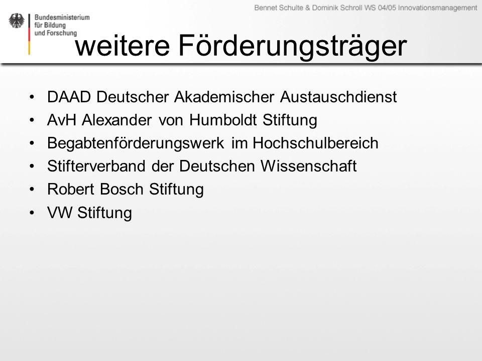 weitere Förderungsträger DAAD Deutscher Akademischer Austauschdienst AvH Alexander von Humboldt Stiftung Begabtenförderungswerk im Hochschulbereich Stifterverband der Deutschen Wissenschaft Robert Bosch Stiftung VW Stiftung
