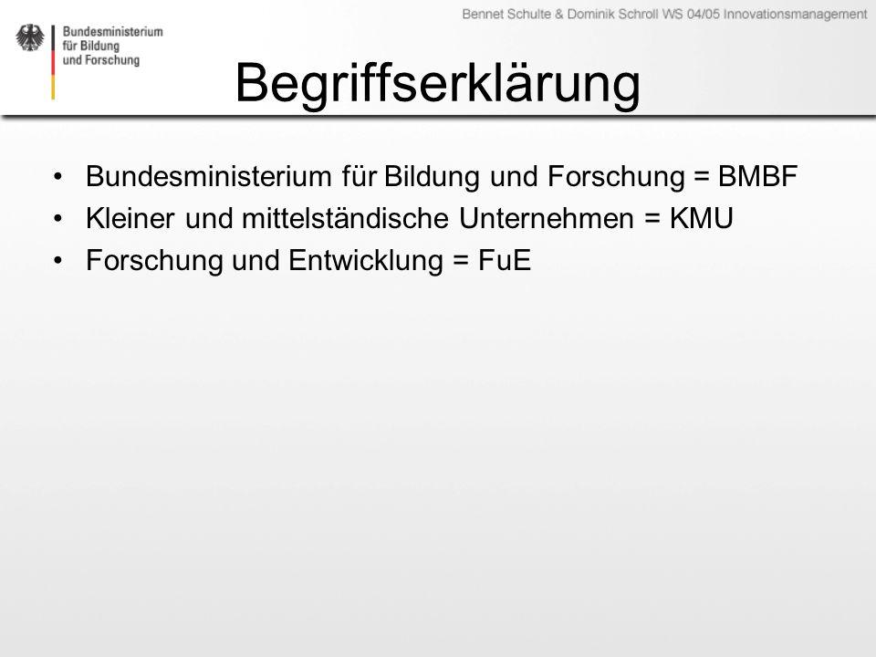 Begriffserklärung Bundesministerium für Bildung und Forschung = BMBF Kleiner und mittelständische Unternehmen = KMU Forschung und Entwicklung = FuE