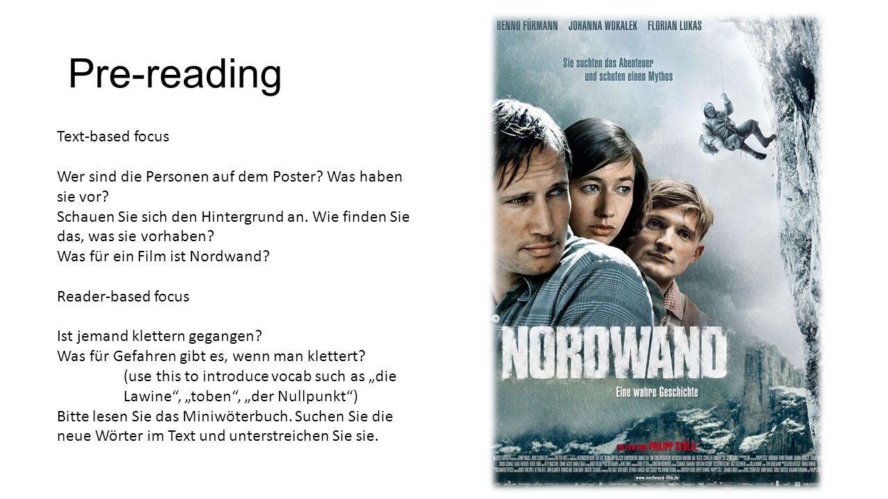 Pre-reading Text-based focus Wer sind die Personen auf dem Poster.
